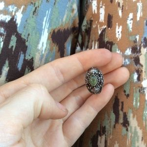 Real Silver Thai Green Stone Ring